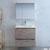 """30"""" Rustic Natural Wood Full Vanity Set Drawers Open"""