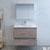 """36"""" Rustic Natural Wood Full Vanity Set Drawers Open"""