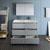 Gray Double Vanity Set Drawers Open