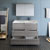 Glossy Ash Gray Double Vanity Set Drawers Open