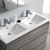 Glossy Ash Gray Double Vanity Set Overhead View