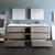 Gray Wood Full Vanity Set Drawers Open