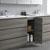 Gray Wood Full Vanity Set Cabinet Open