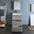 "24"" Gray Wood Full Vanity Set Drawers Open"