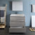 "36"" Glossy Ash Gray Full Vanity Sets Drawers Open"
