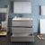 "42"" Glossy Ash Gray Full Vanity Sets Drawers Open"