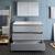Gray Single Vanity Set Drawers Open