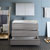 Glossy Ash Gray Single Vanity Set Drawers Open