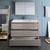 Gray Wood Single Vanity Set Drawers Open