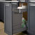 Hafele Single Built-In Bottom Mount Pull-Out MX Trash Can, Steel, Anthracite with Gray Bin, 36 Qt (9 Gal)