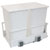 Hafele Double Built-In Bottom Mount Pull-Out MX Trash Cans, Steel, White with White Bin, 2 x 52 Qt (2 x 13 Gal)