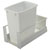 Hafele Single Built-In Bottom Mount Pull-Out MX Trash Can, Steel, White with White Bin, 52 Qt (13 Gal)