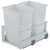 Hafele Double Built-In Bottom Mount Pull-Out MX Trash Cans, Steel, White with White Bin, 2 x 36 Qt (2 x 9 Gal)