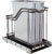 """Hardware Resources Single 35 Quart (12.5 Gallon) Metal Trash Pullout, Black Nickel Frame with Grey Cans, Door Mount with Soft-Close Slides, 12""""W x 21-13/16""""D x 19-13/16""""H"""