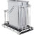"""Hardware Resources Single 35 Quart (12.5 Gallon) Metal Trash Pullout, Polished Chrome Frame with Grey Cans, Door Mount with Soft-Close Slides, 12""""W x 21-13/16""""D x 19-13/16""""H"""