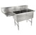 John Boos B-Series Compartment Double Bowl Sink in Multiple Sizes with Left Drainboard, 16-Gauge