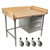 "John Boos Stainless Steel Bakers Table with 3-Drawer Tier and 1-3/4"" Hard Maple Top with 4"" Coved Back & Sides Riser"