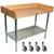 "John Boos 1-3/4"" Thick Maple Top Work Table w/ 4"" Backsplash, Galvanized Steel Base & Shelf, Oil Finish"