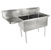 John Boos E-Series Compartment Double Bowl Sink in Multiple Sizes with Left Drainboard, 18-Gauge Stainless Steel