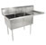 John Boos E-Series Compartment Double Bowl Sink in Multiple Sizes with Right Drainboard, 18-Gauge Stainless Steel