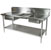 """John Boos Commercial Prep Table Double Bowl Right Sink in Multiple Sizes with 10"""" Backsplash, 16-Gauge Stainless Steel, Knockdown"""