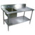 "John Boos Commercial Prep Table Sink Bowl Left in Multiple Sizes with 5"" Clip-Down Riser, 16-Gauge Stainless Steel, Stainless Steel Legs and Shelf"
