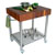 John Boos Black Walnut Butcher Block Top Kitchen Cart