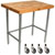 "John Boos 2-1/4"" Thick Blended Maple Top Work Table w/ Stainless Steel Base & Bracing 