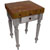 "John Boos Rustica Kitchen Island with 4"" Thick Walnut End Grain Top, Useful Gray, 30""W, 1 Drawer"
