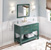 """48"""" Forest Green Base, White Carrara Top Installed"""