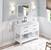 """48"""" White Base, White Carrara Top Installed"""