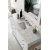 "60"" Bright White 3cm Carrara Marble Top Overhead View"
