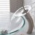 "Kraus Crystal Clear Glass Vessel Sink and Satin Nickel Waterfall Faucet Set, 16-1/2"" Dia. x 5-1/2"" H"