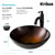 "Kraus Copper Illusion Glass Vessel Sink and Riviera Oil Rubbed Bronze Faucet Set, 16-1/2"" Dia. x 5-1/2"" H"