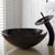 Kraus Copper Illusion Glass Vessel Sink and Waterfall Faucet, Oil Rubbed Bronze