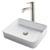 Kraus White Rectangular Ceramic Sink and Ramus Faucet, Satin Nickel