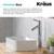 Kraus White Rectangular Ceramic Sink and Sheven Faucet, Chrome