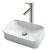 Kraus White Rectangular Ceramic Sink and Sheven Faucet, Satin Nickel