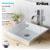 Kraus White Square Ceramic Sink and Ramus Faucet, Chrome
