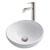 Kraus White Round Ceramic Sink and Ramus Faucet, Satin Nickel