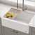"Kraus Bellucci™ 30"" CeramTek™ Farmhouse Flat Apron Front Single Bowl Kitchen Sink with Cutting Board, Granite Quartz Composite, White"
