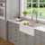 "Kraus Bellucci™ 33"" CeramTek™ Farmhouse Flat Apron Front Single Bowl Kitchen Sink with Cutting Board, Granite Quartz Composite, White"