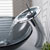 """Kraus Single Lever Vessel Glass Waterfall Faucet, Chrome with Black Clear Glass Disk and Matching Pop Up Drain, 13""""H"""