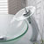 """Kraus Single Lever Vessel Glass Waterfall Faucet, Chrome with Frosted Glass Disk and Matching Pop Up Drain, 13""""H"""