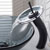 """Kraus Oil Rubbed Bronze Single Lever Vessel Glass Waterfall Faucet with Black Frosted Glass Disk and Matching Pop Up Drain, 13""""H"""
