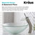 "Kraus Single Lever Vessel Glass Waterfall Faucet, Satin Nickel with Frosted Glass Disk and Matching Pop Up Drain, 13""H"