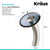 """Kraus Single Lever Vessel Glass Waterfall Faucet, Satin Nickel with Black Clear Glass Disk, 13""""H"""