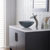 """Kraus Single Lever Vessel Glass Waterfall Faucet, Satin Nickel with Black Frosted Glass Disk, 13""""H"""