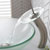 """Kraus Single Lever Vessel Glass Waterfall Faucet, Satin Nickel with Frosted Glass Disk, 13""""H"""