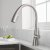 """Kraus Nolen™ Single Handle Pull Down Kitchen Faucet with Dual Function Sprayhead in all-Brite™ Spot Free Stainless Steel Finish, Faucet Height: 16-3/8"""", Spout Reach: 9-1/8"""""""
